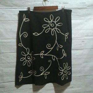 Loft black floral print A line skirt